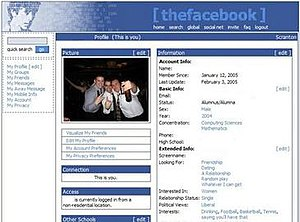 (The) Facebook profile circa 2004–2005.