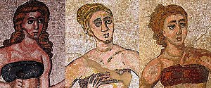 "Details of the ""bikini girls"" mosaic..."