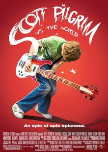 A pink-haired girl named Ramona, standing back to back with a boy in a red t-shirt, Scott Pilgrim. Behind them pictures of her seven evil exes.