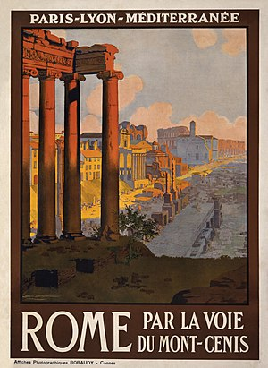 Travel poster for rail service from Paris to R...