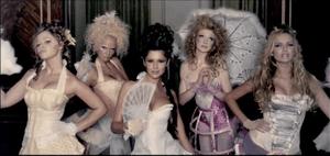Girls Aloud in their music video.