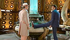 The Fifth Doctor meets the Tenth Doctor.