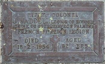 Grave plaque of Lieutenant Colonel James Waddell
