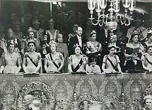 Members of the Royal Family in the Royal box a...