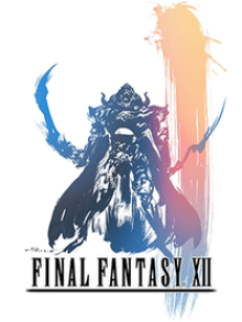 An armor-clad man with a long cape holds two curved swords. He stands above the logo of Final Fantasy XII. The piece is done in a pastel watercolor style with a large vertical streak on the right side fading from peach to pink to blue.