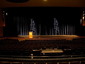 A view of the stage of Lemont High School's Pe...
