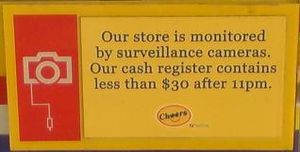 Notice posted at Cheers to deter robbery