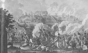 Battle of Elchingen from an engraving by Johann Lorenz Rugendas (1775-1826). French infantry storm the abbey while dragoons chase fleeing Austrians.