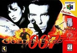 "Black and white images of a man pointing a gun at the viewer, a woman and an antenna are seen at the top of the image, while at the bottom a man runs from an explosion and a helicopter flies. In the foreground is the title ""GoldenEye 007"", on the bottom left corner the Rare logo, and on the right side game specifications."