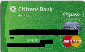 A Citizens Bank debit card with MasterCard Pay...