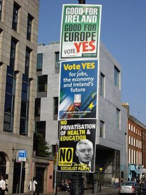Campaign posters in St Stephen's Green, Dublin