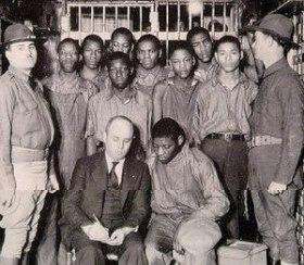 The Scottsboro Boys, with attorney Samuel Leib...