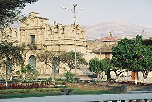 Plaza de Armas in Cajamarca, Peru