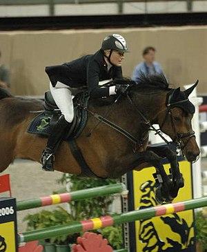 A warmblood sport horse shown over fences.