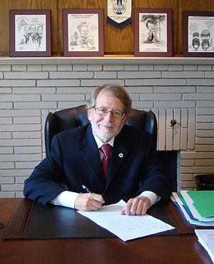 Hampstead Mayor William Steinberg at his desk ...