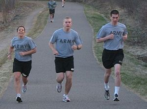 Soldiers wearing the Army Physical Fitness Uniform