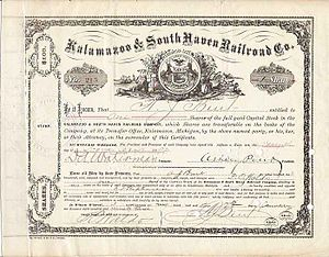 A K&SH stock certificate from 1893