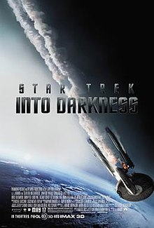 "The poster shows a flaming starship falling towards Earth, with smoke coming out. At the middle of the poster shows the title ""Star Trek Into Darkness"" in dark grey letters, while the production credits and the release date being at the bottom of the poster."