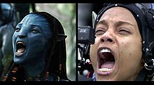 The left image shows the blue cat-like alien Neyitiri shouting. The right image shows the actress who portrays her, Zoe Saldana, with motion-capture dots across her face and a small camera in front of her eyes.