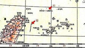 Partial image of map showing Senkaku Islands i...