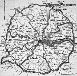 Map of the London postal district in 1857