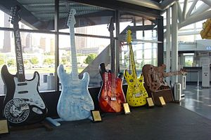 Guitars in the lobby of the Rock and Roll Hall...