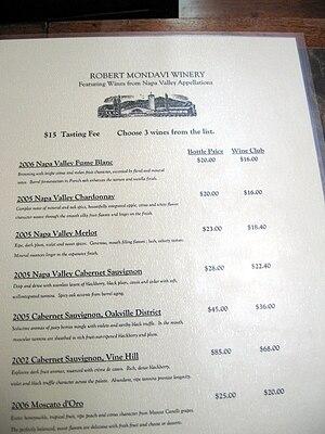 The wine list for а Robert Mondavi Winery wine...