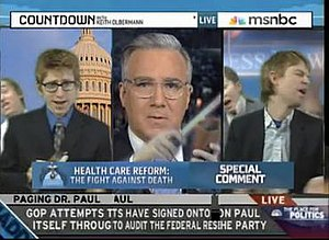 Keith Olbermann (center) manipulated via super...