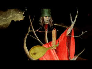 Stylized image of Buckethead in the song's vid...