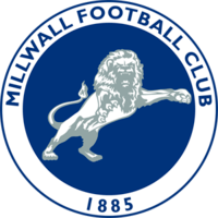 Blue rampant lion above the word Millwall in blue letters.