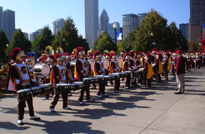 The Spirit of Troy drum line at Navy Pier in C...