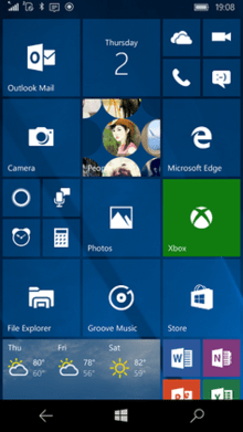 220px Windows 10 Mobile homescreen Dynamic Wallpaper Iphone 5