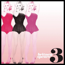 The image of a blonde woman wearing a black short dress, repeated three times in colors red, black and pink, along the right side of the image. The image has a black border. On the lower left corner, the number