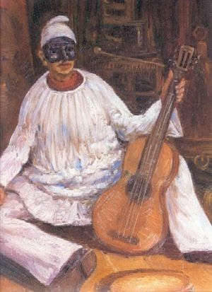 Pulcinella with a guitar.