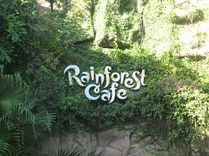 A typical sign outside of a Rainforest Cafe.
