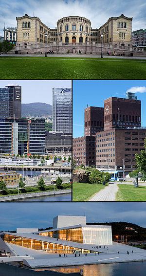 Stortinget, Oslo skyline (with Hotel Plaza, Po...