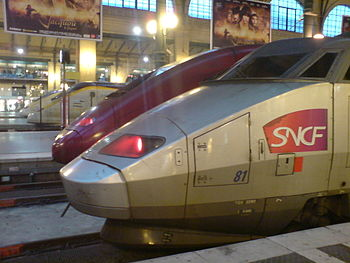 A Eurostar, Thalys, and TGV train side by side...
