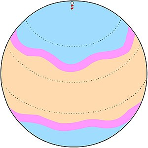 The jet stream (shown here in pink) is a well-...