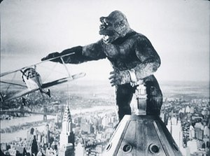 The stop-motion animated King Kong, battling a...
