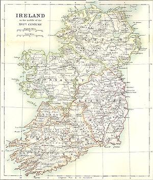 Map of 16th century Ireland from Falkiner, Ill...