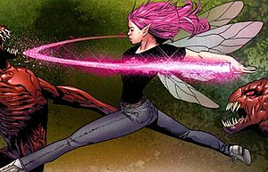 Pixie using her pixie dust power. Art by Greg ...