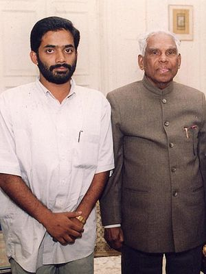Eby J Jose with K.R.Narayanan,President of Ind...