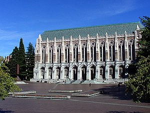 Suzzallo Library, looking east across Red Square