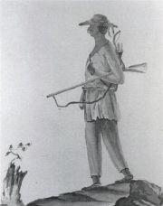 Drawing of a member of the Stockbridge Militia