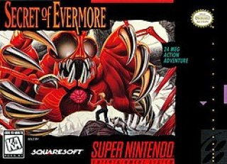 The game's cover art shows a boy and his dog standing on a ledge face-to-face with a giant, red creature with insectoid eyes, sharp teeth, a visible heart, and a ribcage resembling claws. The game's logo and various other logos are visible around the artwork.