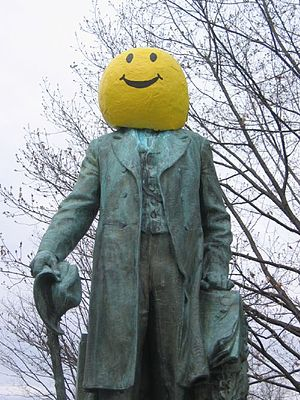 Statue of Ezra Cornell used to publicize for H...