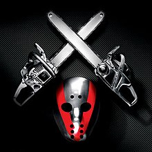 The background is a dimly-lit, black diamond plate. On it, a black and red hockey mask, under two crossed chainsaws is depicted.