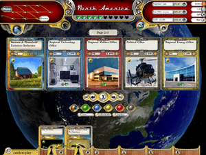 Core gameplay interface, showing policy cards ...
