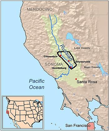 Map outline of the Alexander Valley AVA in rel...