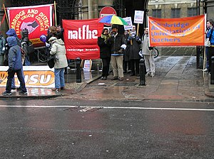 Banners of AUT, NATFHE, Cambridge TUC and Camb...